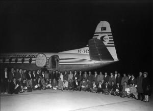 Gurbetçi işçileri Belçika'ya götüren THY uçağı (Yıl 1963)
