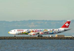 Swiss Air_Flower Power_San Francisco_Airbus A340_HB-JMJ