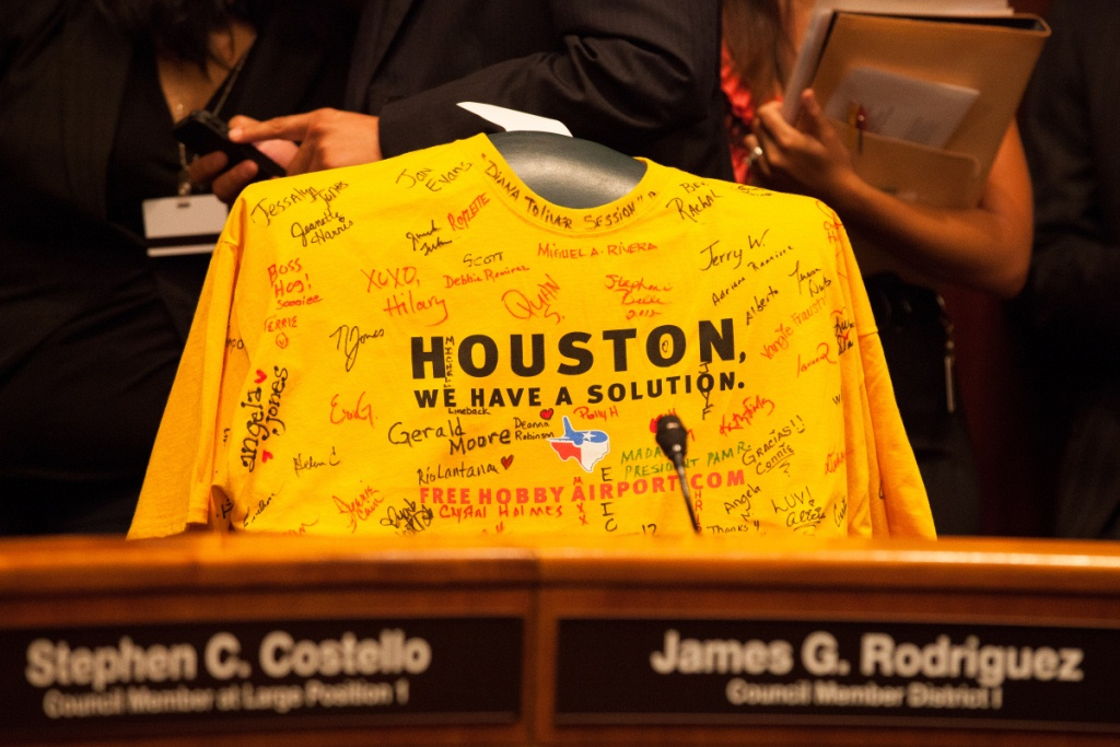 "Southwest Airlines employees sent signed ""Free Hobby"" t-shirts to Houston City Council members before the vote to approve Southwest's bid to expand William P. Hobby Airport for international service. Stephen M. Keller, Southwest Airlines 2012."