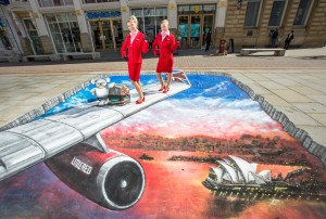 Virgin Atlantic 3D artwork at St Anns Square Manchester