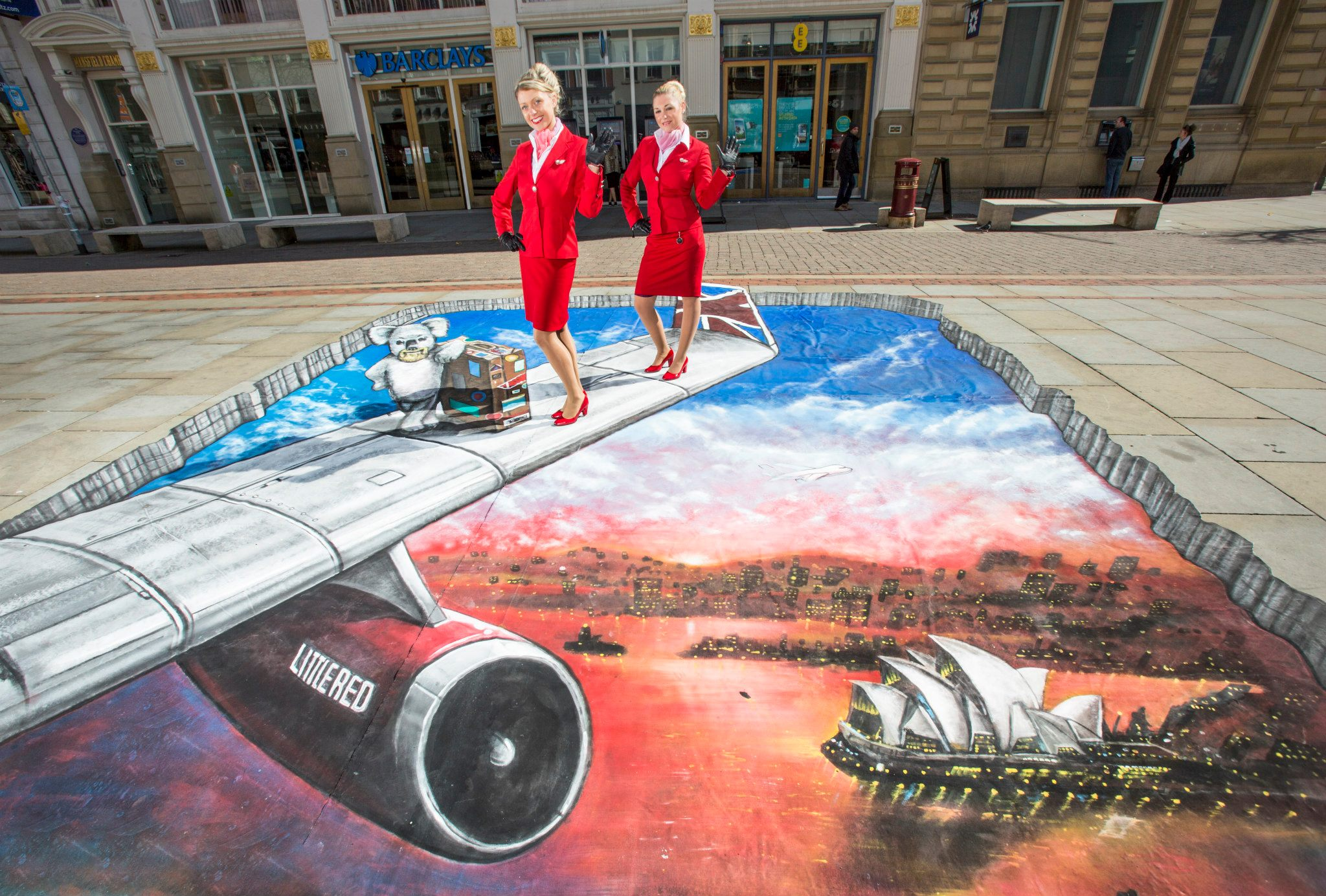 Virgin Atlantic 3D artwork at St Anns Square Manchester