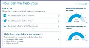 KLM_expected response time on Facebook Twitter