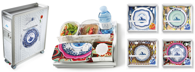 KLM Brings Colorful Design To Meals And Trolleys In