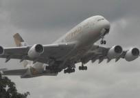 A380 New Etihad Airways Livery Take off London Heathrow Airport A6-APA