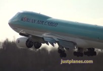 Korean Air Cargo - Go-around just above the runway