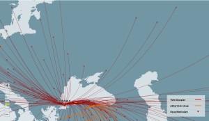 THY uçuş haritası