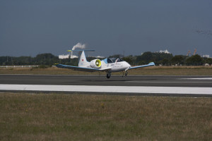 Airbus Group's E-Fan technology demonstrator became the world's first all-electric two engine aircraft taking off by its own power to successfully cross the Channel on 10 July 2015, some 106 years after Louis Blériot's epic flight. Here landing in Calais.