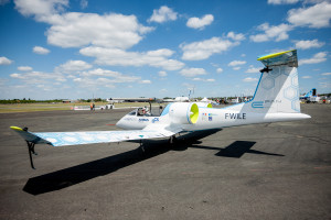 The E-Fan flight demonstrator prepares for take-off.