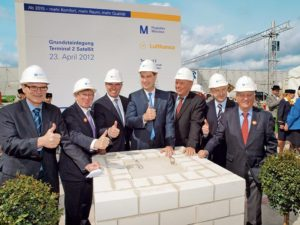 Munich Airport_new satellite terminal_23 April 2012 The first foundation stone is laid