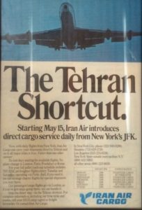 Tehran Shortcut_vintage ad_Iran Air_New York-Tehran_cargo flights