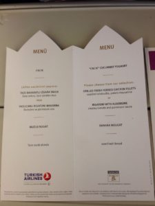 Turkish Airlines Inflight Menu Card (May 2016)