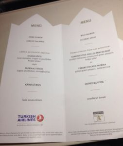 Turkish Airlines Economy Class Inflight Menu Card (May 2016)