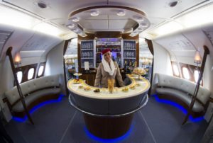 Emirates: The business class bar inside the Airbus A380