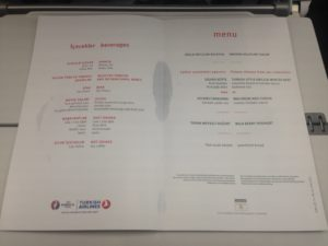Turkish Airlines Inflight Menu Card with Euro 2016 Theme