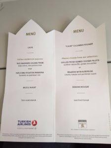 Turkish Airlines Inflight Menu Card (Economy Class) Helsinki-Istanbul (July 2016)