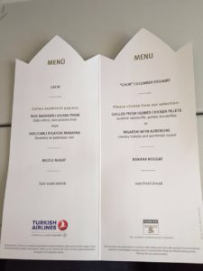 Turkish Airlines Inflight Menu Card - Economy Class (August 2016)