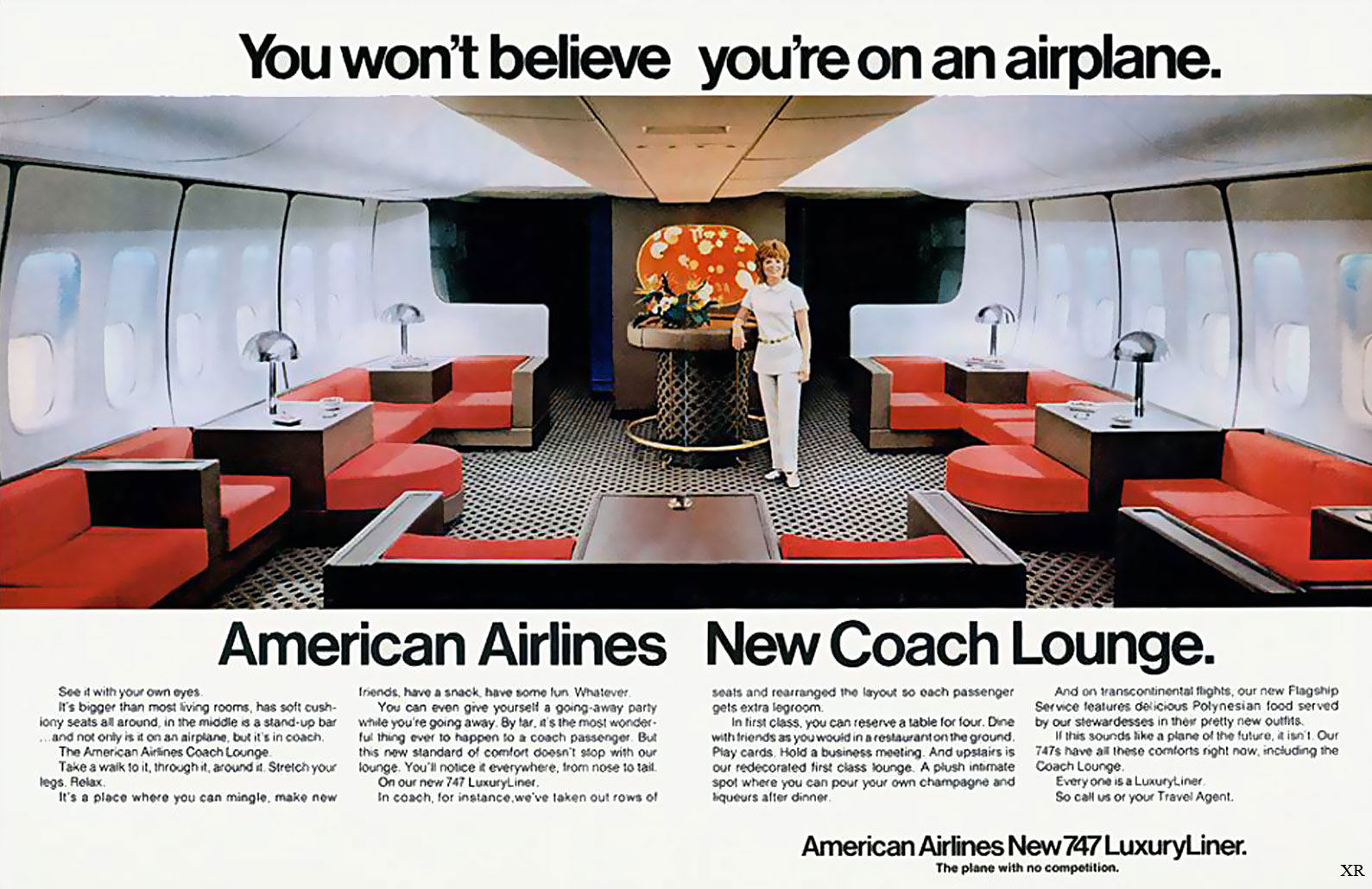 American Airlines New Coach Lounge - Boeing 747