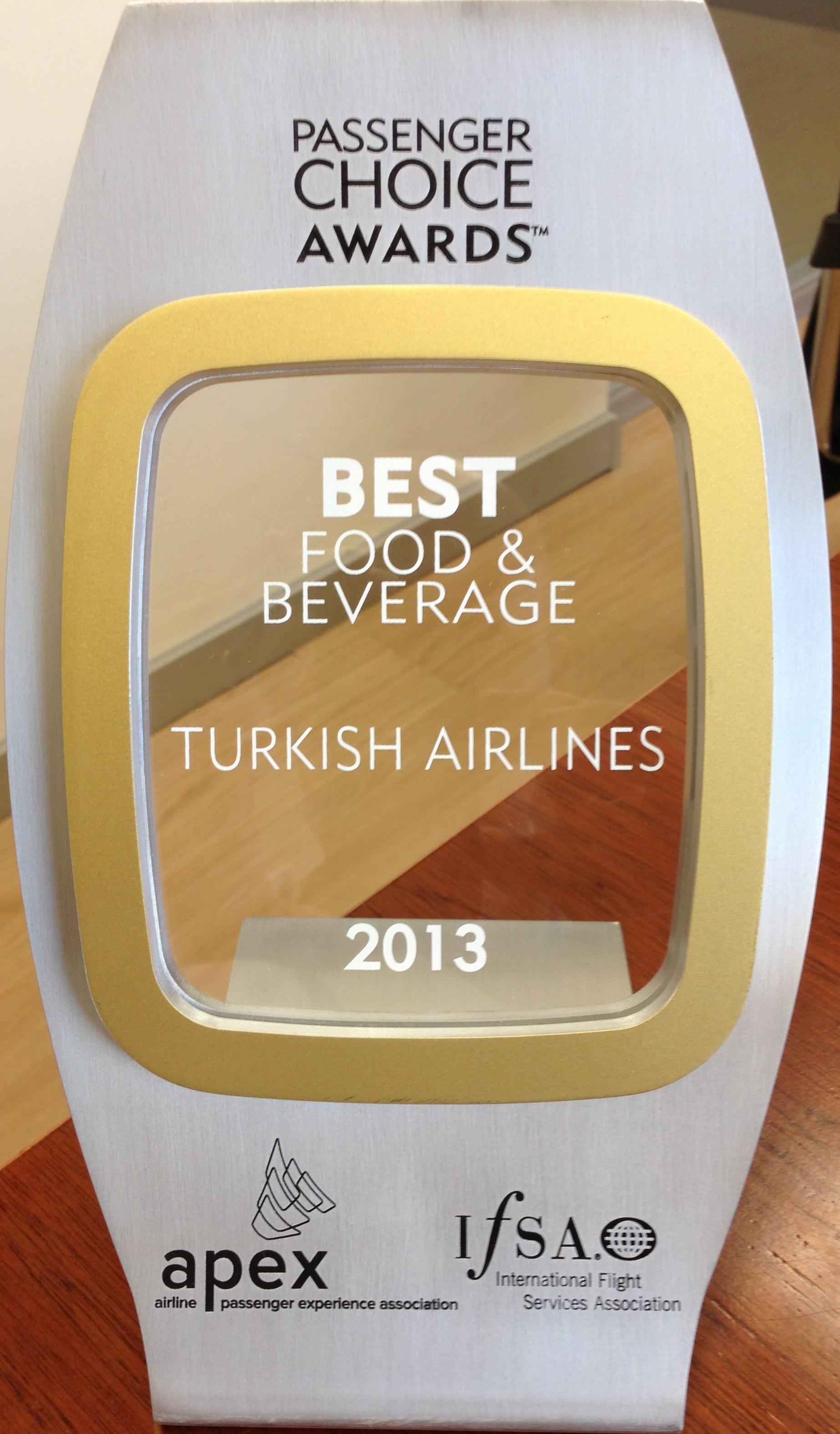 Turkish Airlines_Passsenger Choice Awards_Best Food Beverage_2013_APEX IFSA