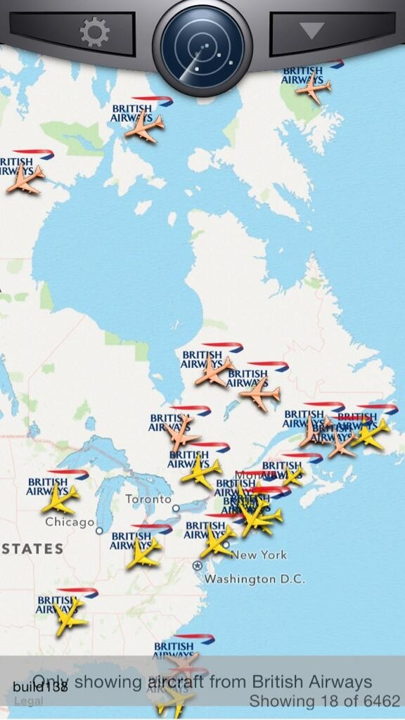 British Airways flights over North America