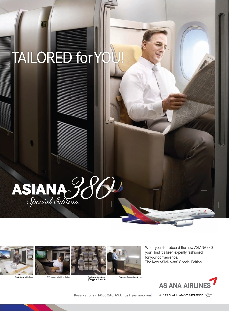 Asiana 380 Special Edition - Tailored for You!