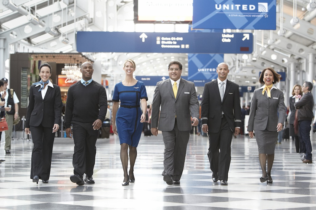 United Airlines flight attendants and crew members at Chicago O'Hare