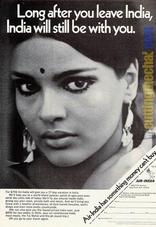 Air India_Zeenat Aman_Commercial 1970_print ad