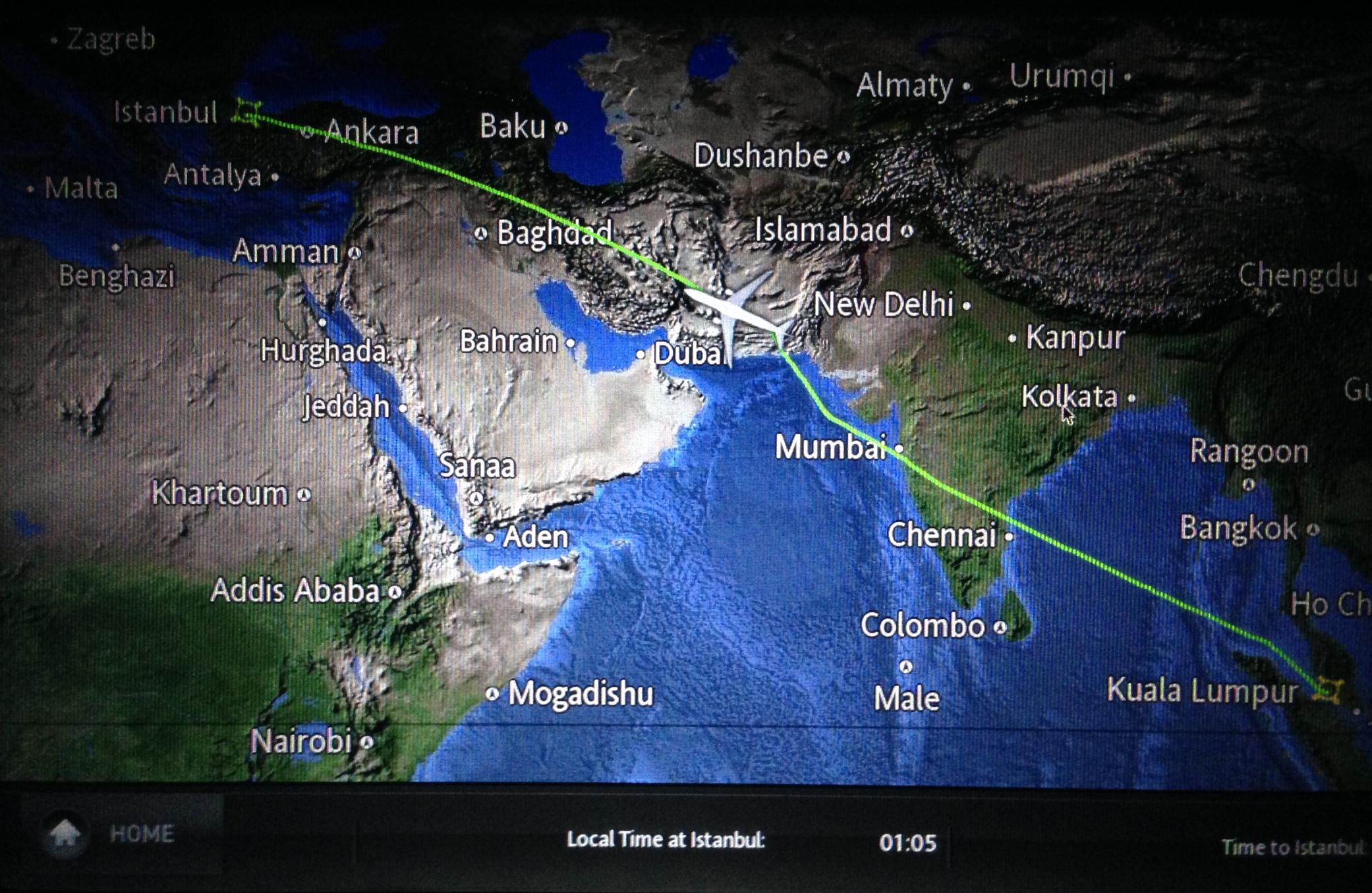 THY_Turkish Airlines_IFE_flight map_KUL-IST