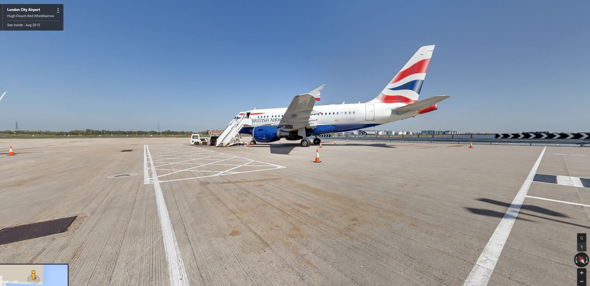 British Airways_google street view_Airbus A318_London City Airport