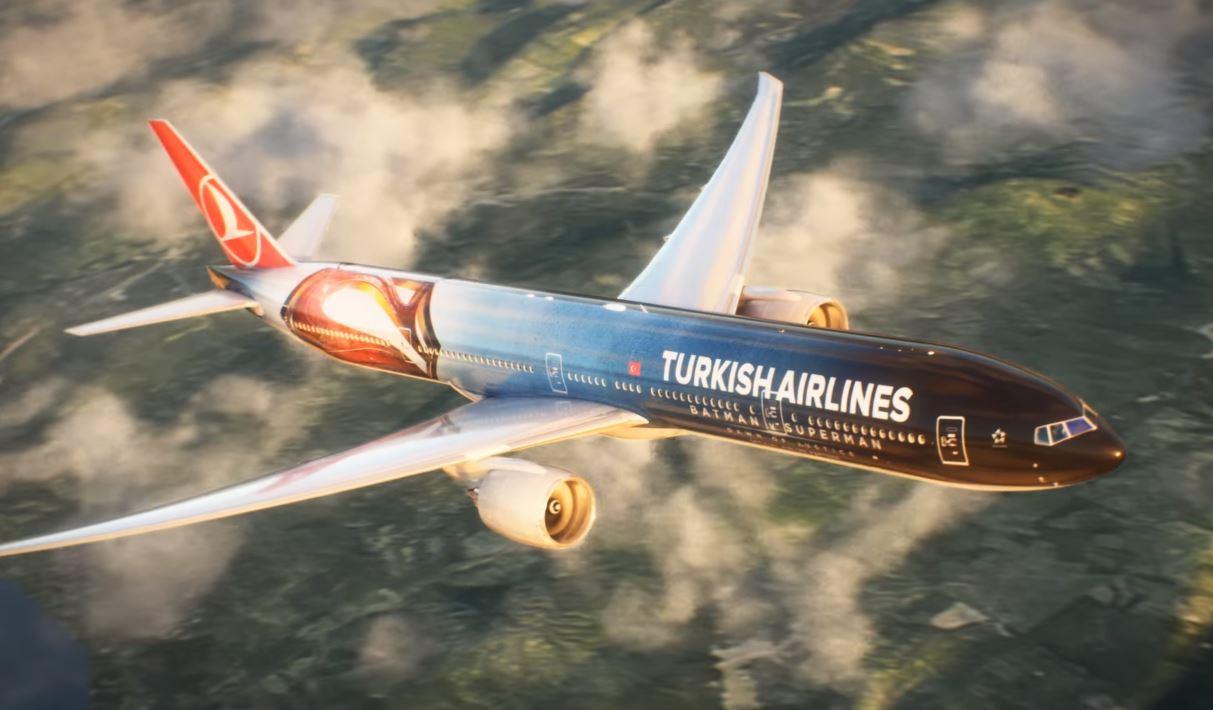 Turkish Airlines Batman v Superman Dawn of Justice Plane in Full Flight