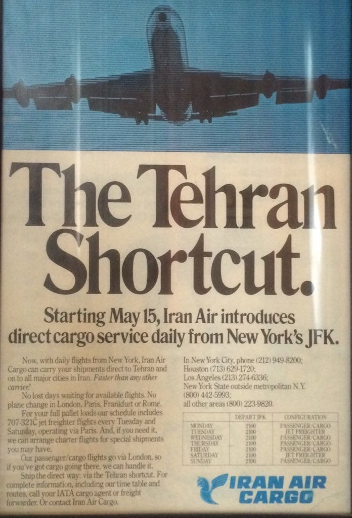Tehran Shortcut_vintage ad_Iran Air_New York-Tehran_cargo flights